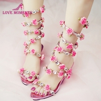 Women Wedding Sandals 2018 Crystal and Pink Flower Women Gladiator Sandal Summer Dress Shoes Wedge Heel Open Toe Bridal Boots