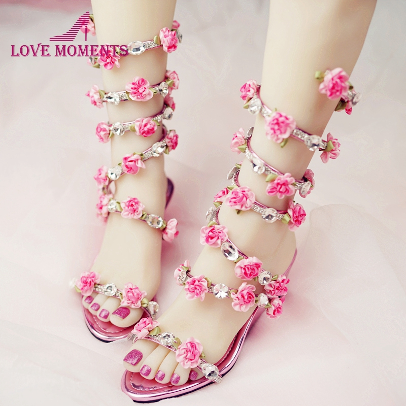 Women Wedding Sandals 2018 Crystal and Pink Flower Women Gladiator Sandal Summer Dress Shoes Wedge Heel Open Toe Bridal Boots lf40203 sexy white pink blue strappy heart heel wedge wedding sandals sz 4 5 6 7 8 9 10