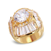 Big Zircon Rings For Women Paved With AAA Clear Cubic Zirconia With Platinum And 18k Real