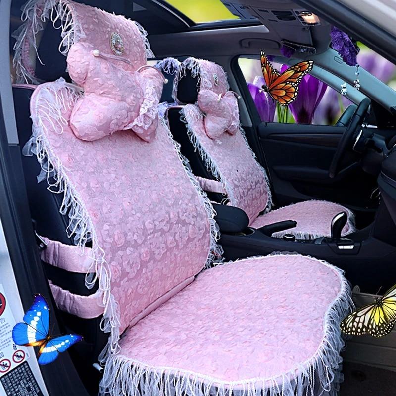 Dla Dziewczynek Damskie Koronka Sliczne Fioletowy Rozowy Uniwersalny Pokrowiec Na Siedzenia Samochodu Zestaw Automobiles Seat Covers Aliexpress