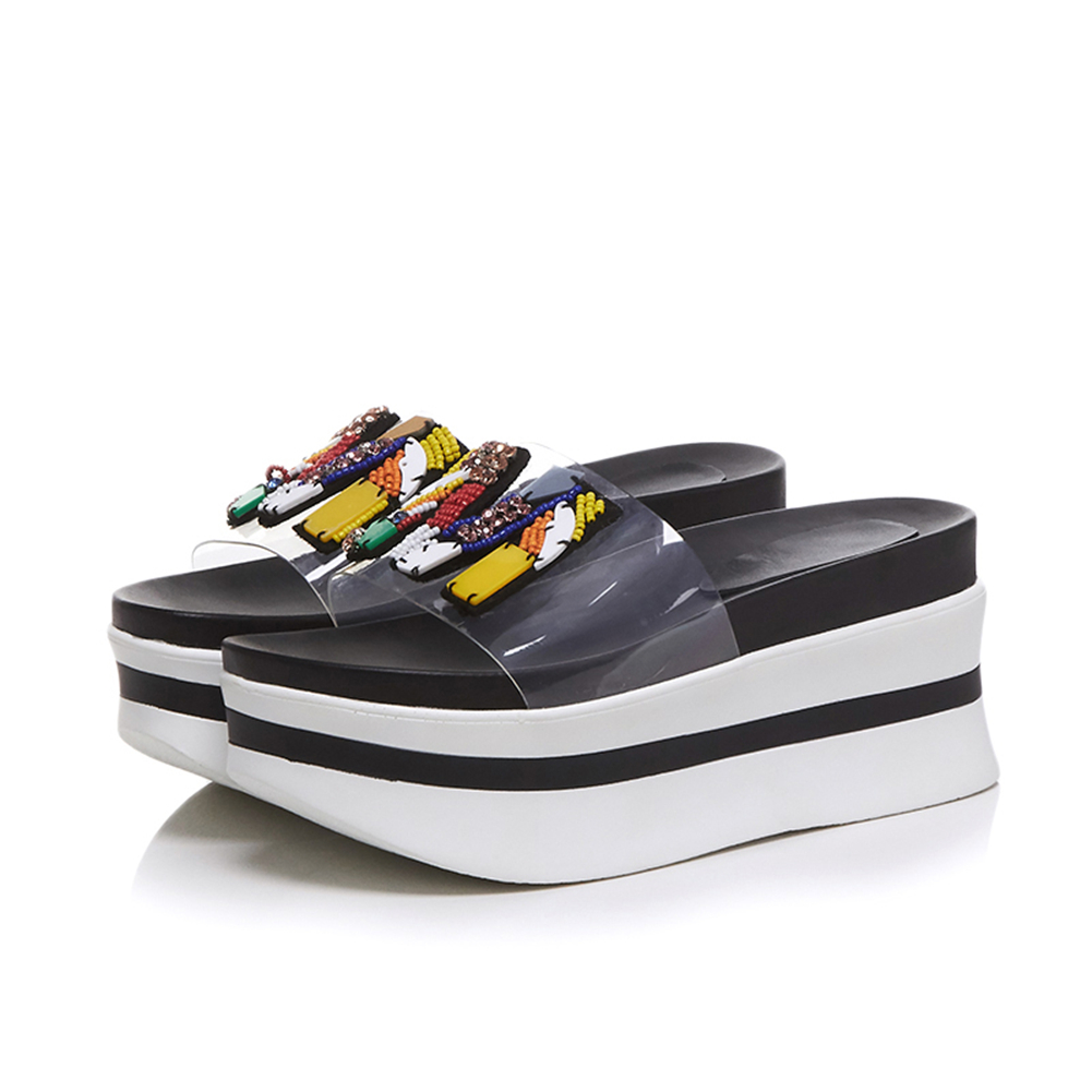 DORATASIA 2019 New Summer Girl Thick Platform Slides Women 2019 Fashion Transparent PVC Slippers Casual Women Wedges Shoes Woman in Slippers from Shoes