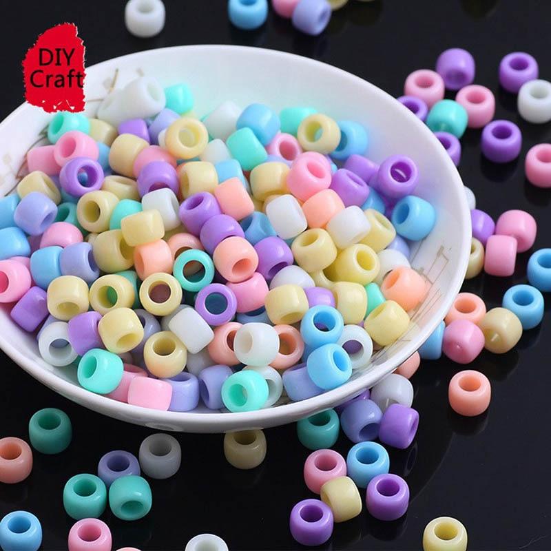 100 шт. 6 шт. * мм 8 мм карамельный цвет большое отверстие акриловые бусины для детей DIY ювелирных изделий ожерелье браслеты бусины дети ручной работы ремесла