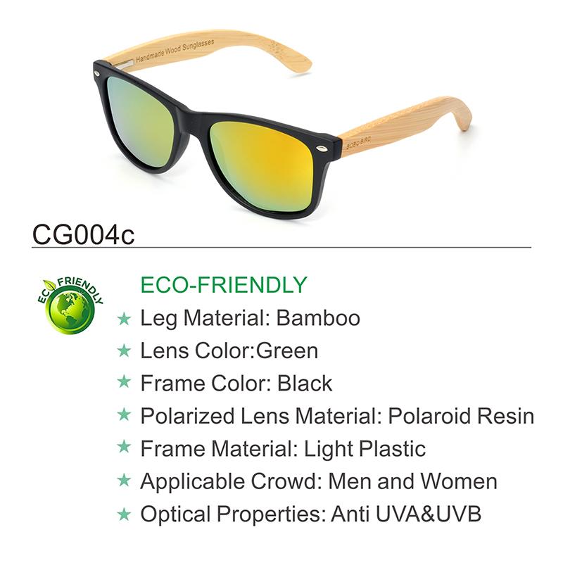 BOBO BIRD Black Square Sunglasses With Bamboo Mirrored 18