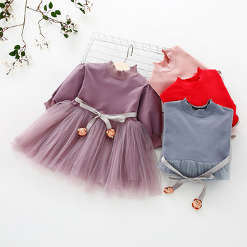 Fashion stitching Baby Girl Dress Long sleeve spring Dresses for 0-24 month Girls Clothes Vestido Infantil Newborn Baby Clothing 4