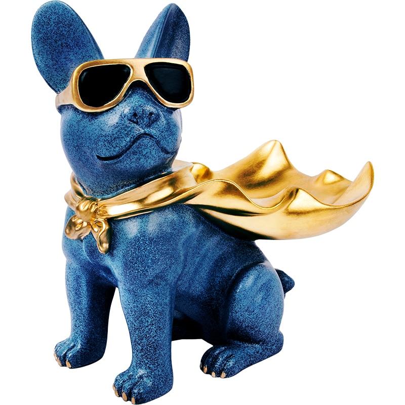 Drôle avec cape chien résine sculpture décoration bouledogue portant des lunettes de soleil décoration de la maison boîte de rangement cool chien