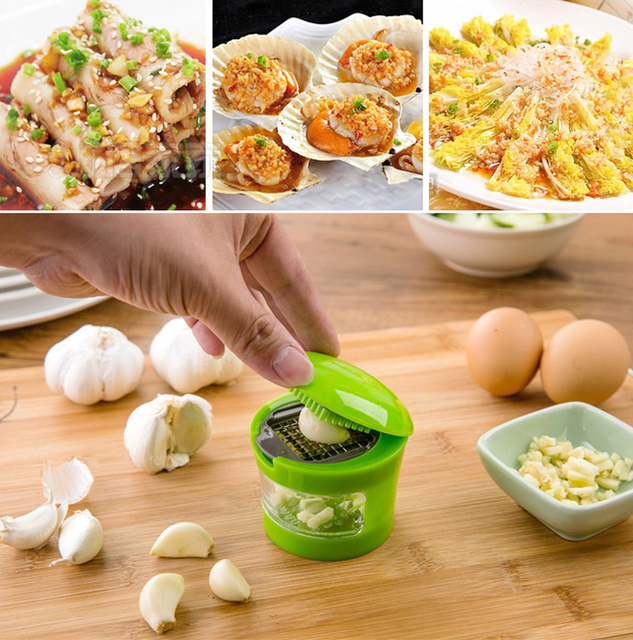 Garlic Press 2 Stainless Steel Blade Garlic Chopper Cutter Novelty ...