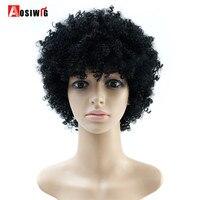 AOSIWIG Naturalne Afro Peruki Perwersyjne Kręcone Peruki Dla Czarnych Kobiet Kobiet Peruka Włosy Krótkie Peruki Syntetyczne Odporne na ciepło