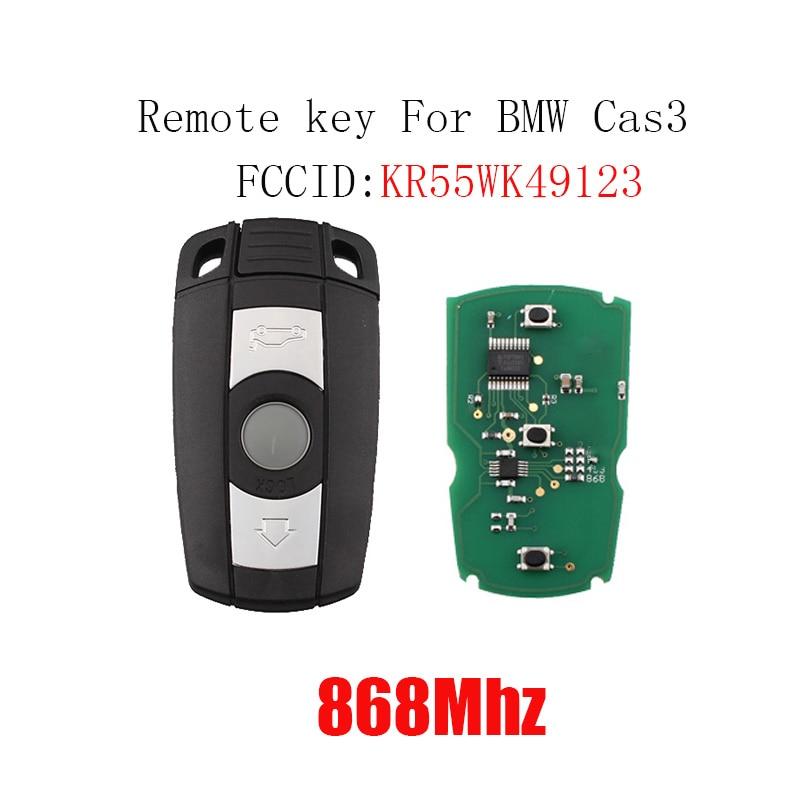 868 mhz 3 Botão do Controle Remoto Chave Do Carro para a BMW E60 E61 E70 E71 E72 E81 E82 E87 E88 E90 E91 e92 E93 KR55WK49123 PCF7945Chip Chave Inteligente
