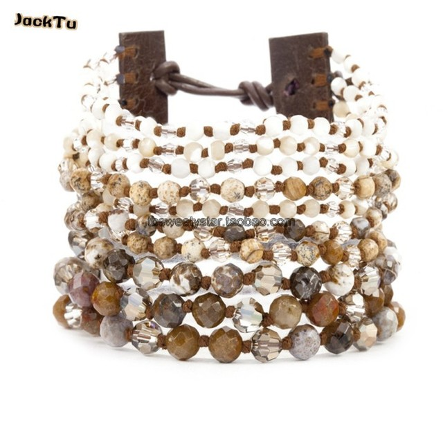 wholesale mother of pearl crystal cuff wrap bracelet
