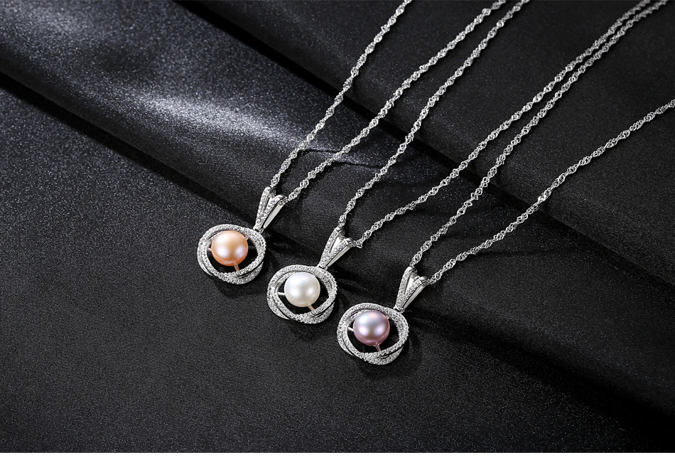 S925 sterling silver necklace with zircon natural freshwater pearl pendant fashion exquisite accessories VSG04S925 sterling silver necklace with zircon natural freshwater pearl pendant fashion exquisite accessories VSG04