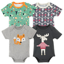 Cotton Short Sleeve Baby Bodysuit 4PCS Summer Newborn Cartoon Body Baby Short Sleeve Underwear Infant Boy Girl Pajamas Clothes(China)