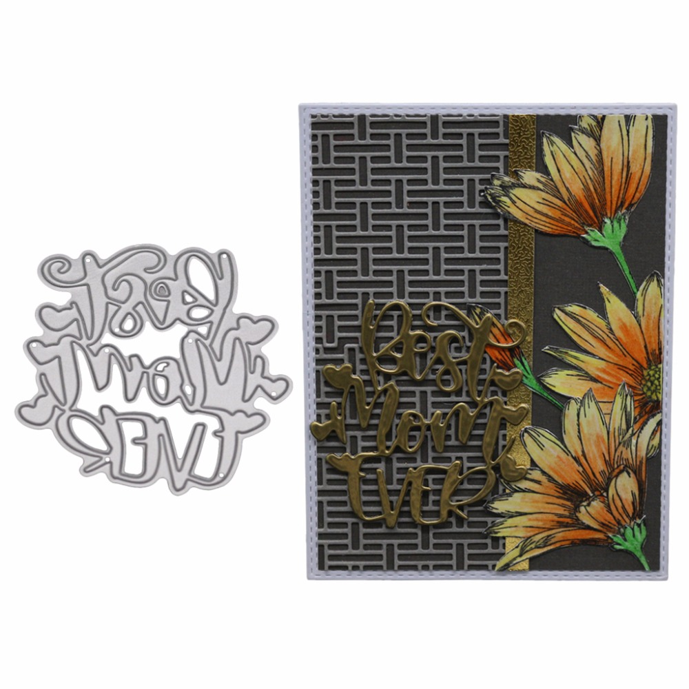 Best Mom Ever Metal Cutting Dies Stencil DIY Scrapbooking Album Stamp Paper Card Embossing Craft Decor--S01 image