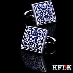 Kflk jóias camisa moda abotoaduras para homens marca manguito link botão atacado azul de alta qualidade luxo casamento masculino frete grátis