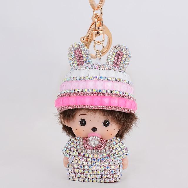 Monchichi Keychain Crystal Gold Monchichi doll chaveiros personalizado bag pendant Charm