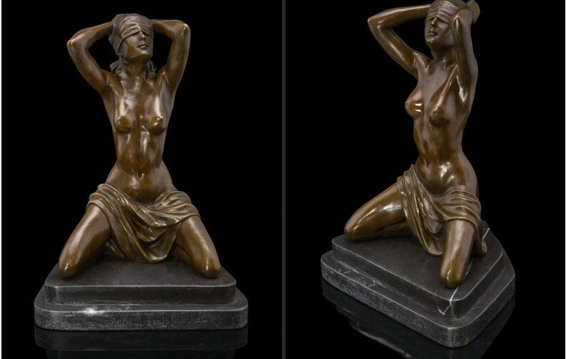 Art Deco Sculpture Nude Woman Girl Erotic Female Body Eyes Covered Bronze Statue|statue erotic|statue girl|statue woman - title=