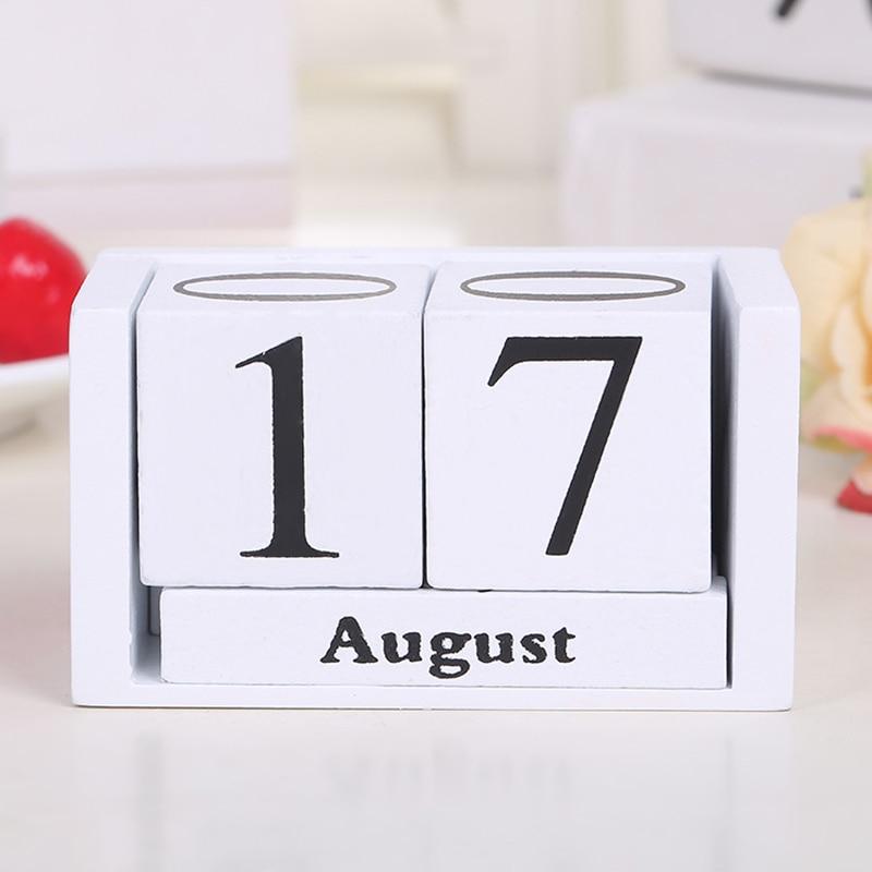 Vintage Wooden Perpetual Desk Calendar Block Planner Permanent Desktop Organizer DIY Agenda 899