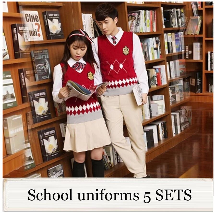 a41ddaca8e Británico japonés Escuela Secundaria uniforme escolar para las niñas y los  niños de invierno suéter chaleco falda de la camisa de las mujeres chándal  5 sets ...