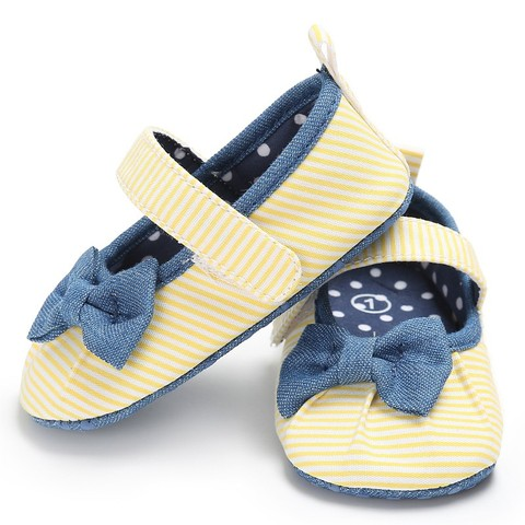 Newborn Baby Girls Shoes Butterfly-knot Kids First Walkers Shoes Infant Babe  Soft Bottom Striped Shoes Multan