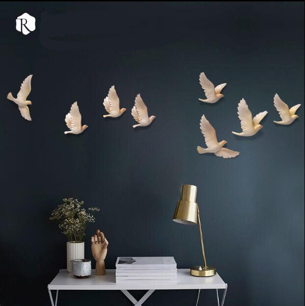 EEN set van 8 stks 3D Hars Vogel Woondecoratie Driedimensionale Muur Decor Muurstickers Creatieve Woonkamer Decoratie Ambachten - 3