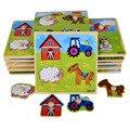 BOHS Apoderarse de Pequeños Animales de Dibujos Animados De Madera Peg Perilla Puzzles Toy 14.8*14.8*0.8 CM