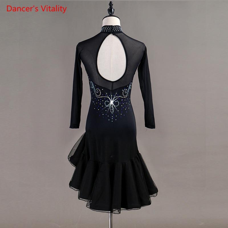 Custom Made NEW Women's Latin Long Sleeves Dance Costumes Dress Skirt Salsa Samba Cha-Cha Latin Dance Dress