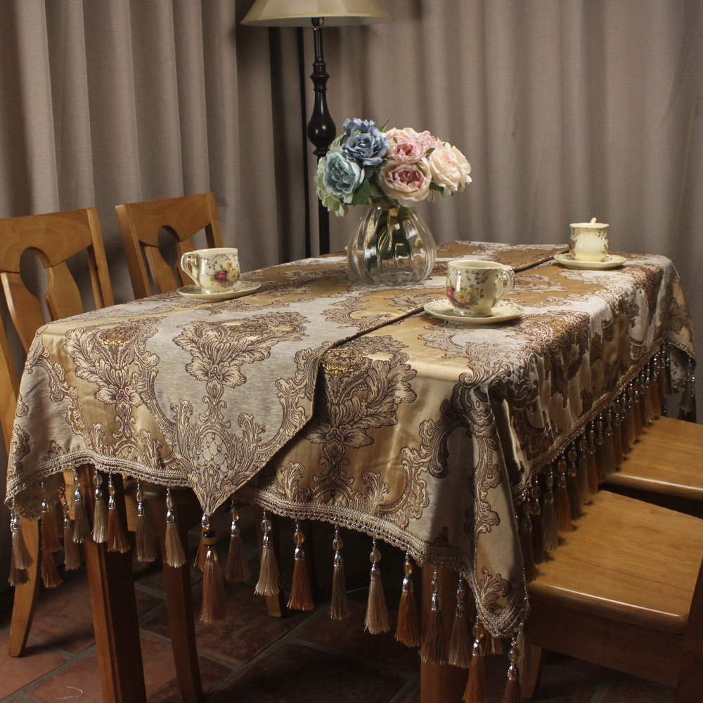 CURCYA Beige Classic Chenille Jacquard Luxury Table Cloth Noble Elegant Wedding Vintage Decoration Table Covers Custom Size-in Tablecloths from Home & Garden    1