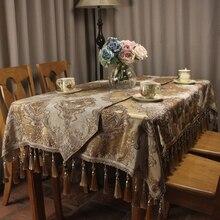 Beige Classic Chenille Jacquard Luxury Table Cloth Noble Elegant Wedding Vintage Decoration Covers Custom Size