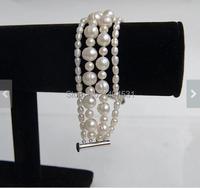 Groothandel parel armband-vier strand witte grote en kleine size echte zoetwaterparels armband, 7.5 inch bruiloft sieraden.