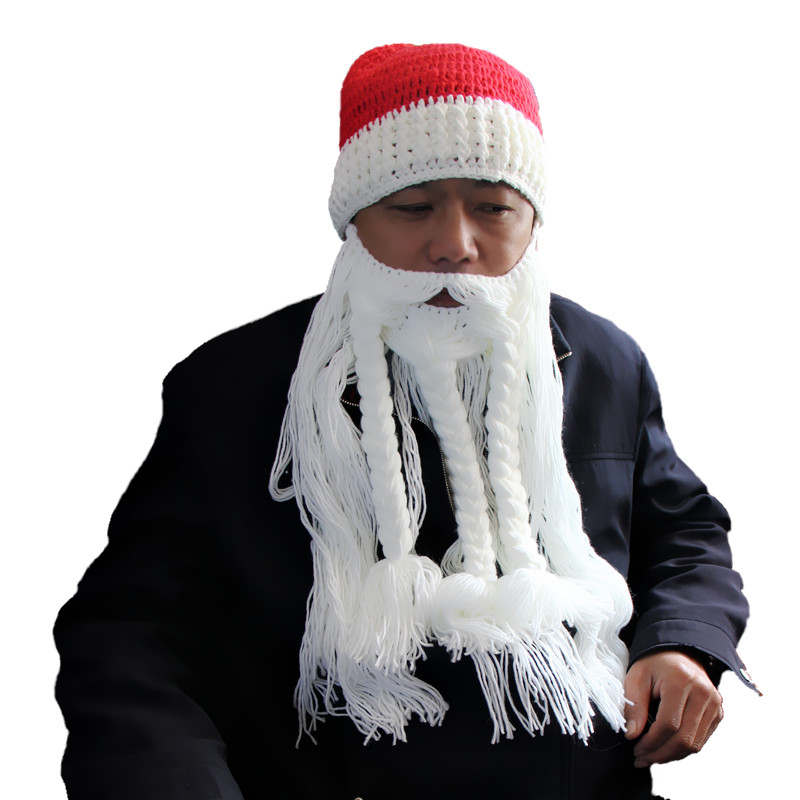 Cool Fashion Hat Customized Size Santa Claus Hat with Beard Red Hat for Christmas Big Beard Cosplay Hat Handmade Beanies