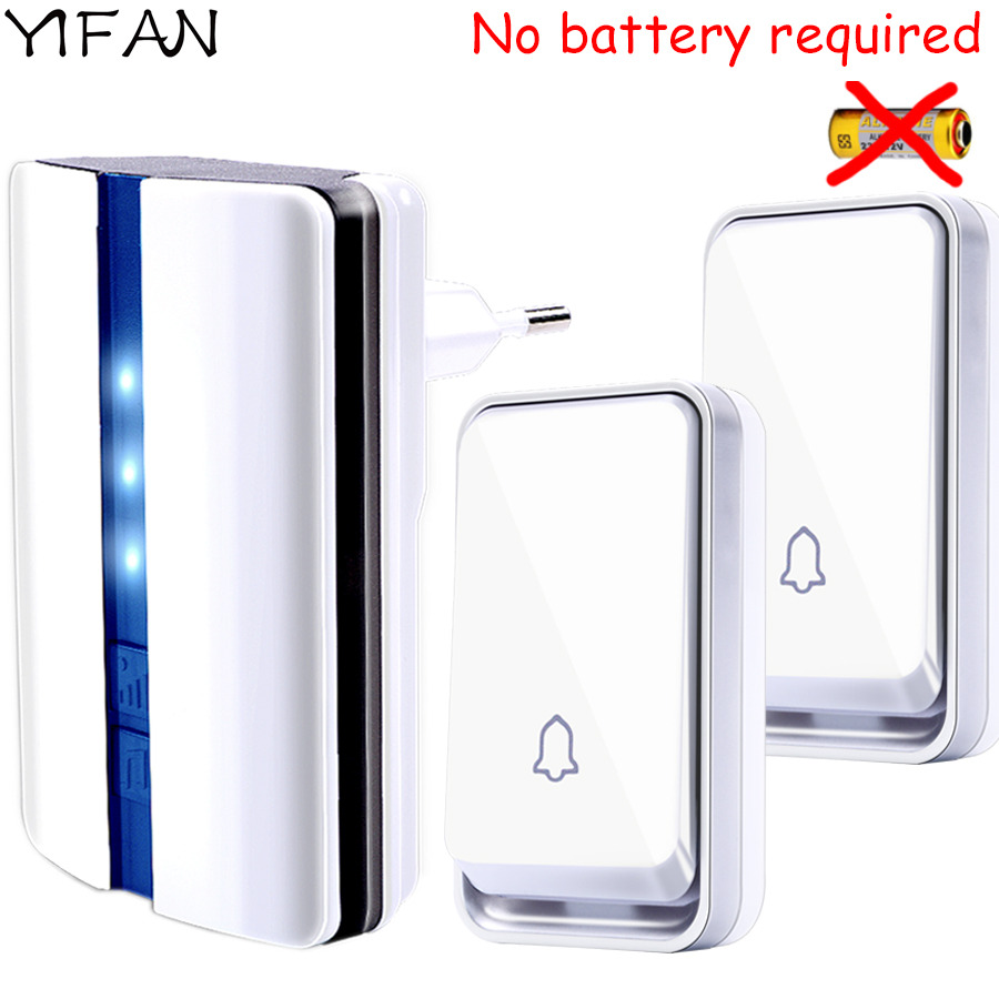 YIFAN New self powered Wireless DoorBell Waterproof no battery EU Plug smart Door bell 2 button 1 receiver LED light 110V 220V wireless service call bell system popular in restaurant ce passed 433 92mhz full equipment watch pager 1 watch 7 call button