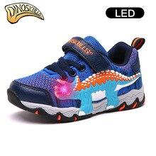 Dinoskulls обувь для детей Детская спортивная обувь для мальчиков сетки загораются обувь дышащая 2018 светодиодные кроссовки динозавр обувь 27-34