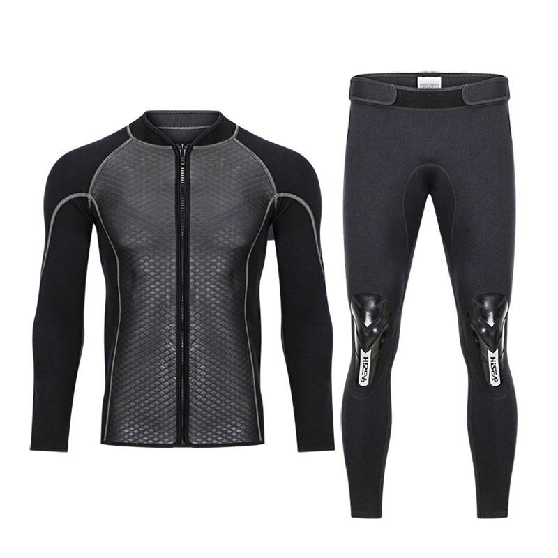 Hisea 2 5MM Neoprene Men Women Wetsuit 2 Piece Couple Diving Suit Top Pants Full Zipper