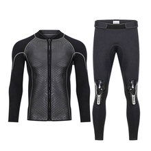 Hisea 2.5MM Neoprene Men Women Wetsuit 2 Piece Couple Diving Suit Top Pants Full Zipper Jacket for Spearfishing Surfing Swimming