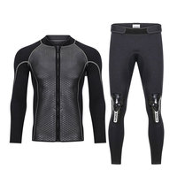 Hisea 2.5MM Neoprene Men Women Wetsuit 2 Piece Couple Diving Suit Top Pants Full Zipper Jacket for Spearfishing Surfing Swimming