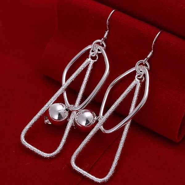 Grosir perhiasan berkualitas tinggi, 925 perhiasan, Perak berlapis ganda anting persegi untuk wanita, Hadiah terbaik SMTE072