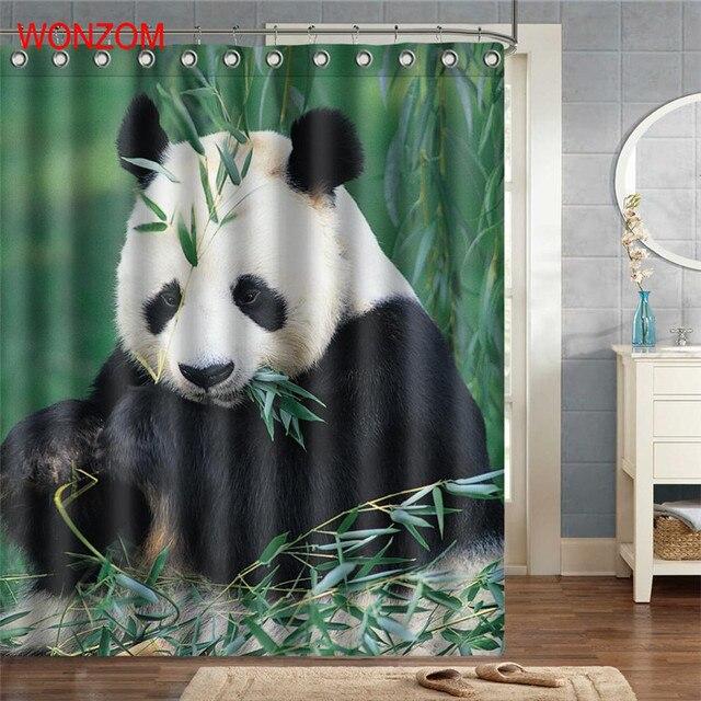 WONZOM Panda Eating Bamboo Waterproof Shower Curtain Animal Bathroom Decor  Decoration Cortina De Bano 2017 Bath