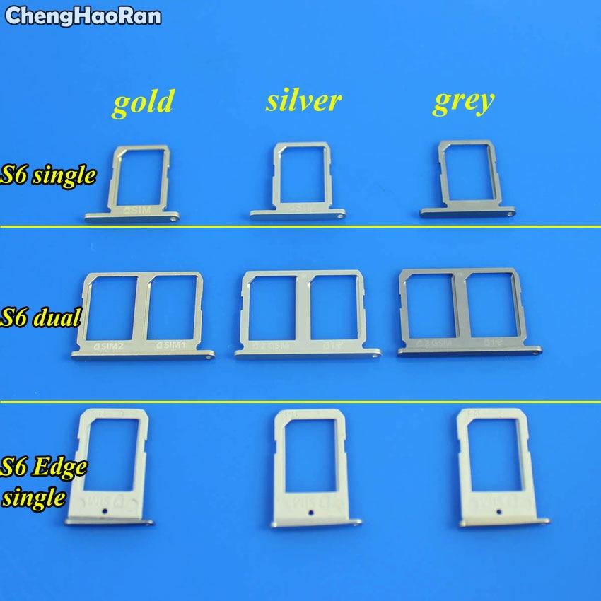 ChengHaoRan 1Piece SIM Card Tray Slot Holder For Samsung Galaxy S6 G9200 G920F S6 Edge Singe/Dual