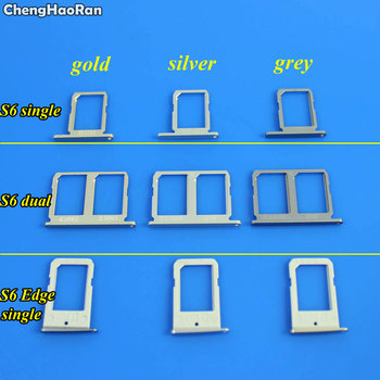 ChengHaoRan 1Piece SIM Card Tray Slot Holder For Samsung Galaxy S6 G9200 G920F S6 Edge Singe/Dual image