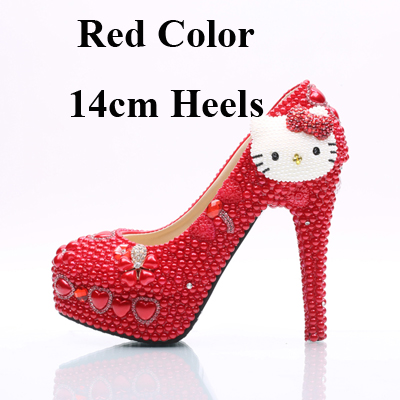 b0da89c4731 US $63.9 23% OFF|2018 Red Pearl Wedding Shoes with White Hello Kitty Women  Shoes Customized Girl Birthday Party Prom Heels Prom Event Pumps-in Women's  ...