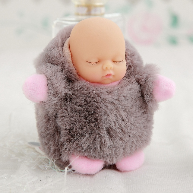 Mini 12cm kawaii sleep baby dolls plush toys Bjd bebe bear rabbit doll Key chain Pendant for kids girl Christmas birthday gift  3