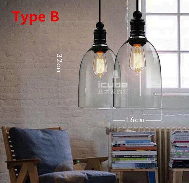 estilo vintage americano luces pendientes cristal lampshade cocina industrial penant luz de campana yc accesorios de