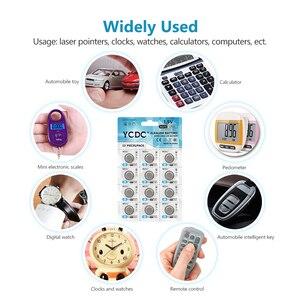 Батарея YCDC AG 13, 12 шт./1 карта, 1,5 В, SR44SW L1154, RW82, RW42, LR44, 357, AG13, батарейки для монет, часы с калькулятором, игрушки