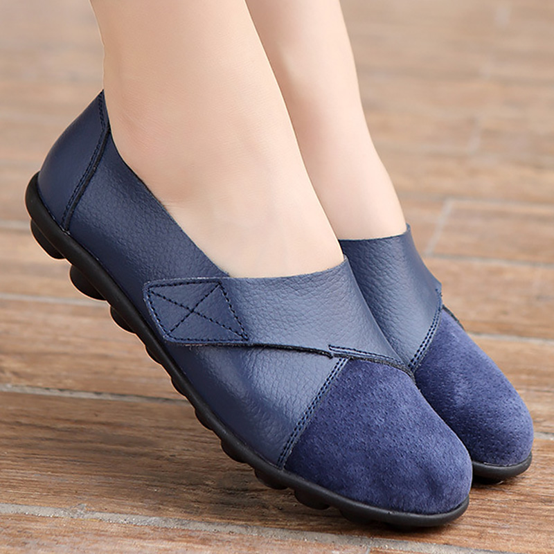Flats-Shoes Patchwork Large-Size Genuine-Leather Woman's Women Suede Hook Soft Boat Loop-Massage