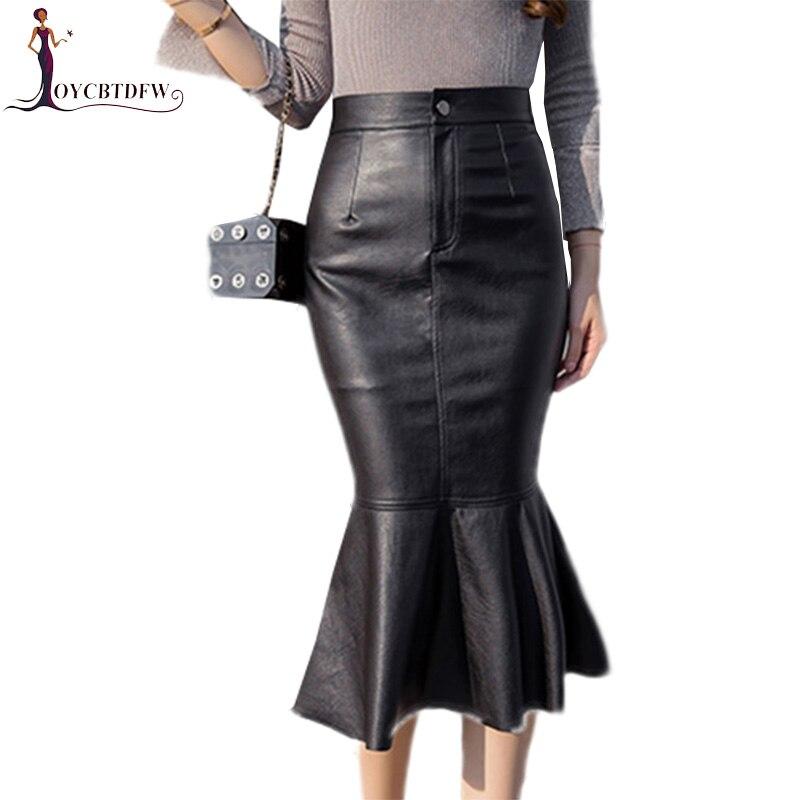 2018 Autumn Winter PU Leather Half Skirt Mid Long Fashion New High Waist Mermaid Skirt Female Elegant Slim PU Leather Skirt D522
