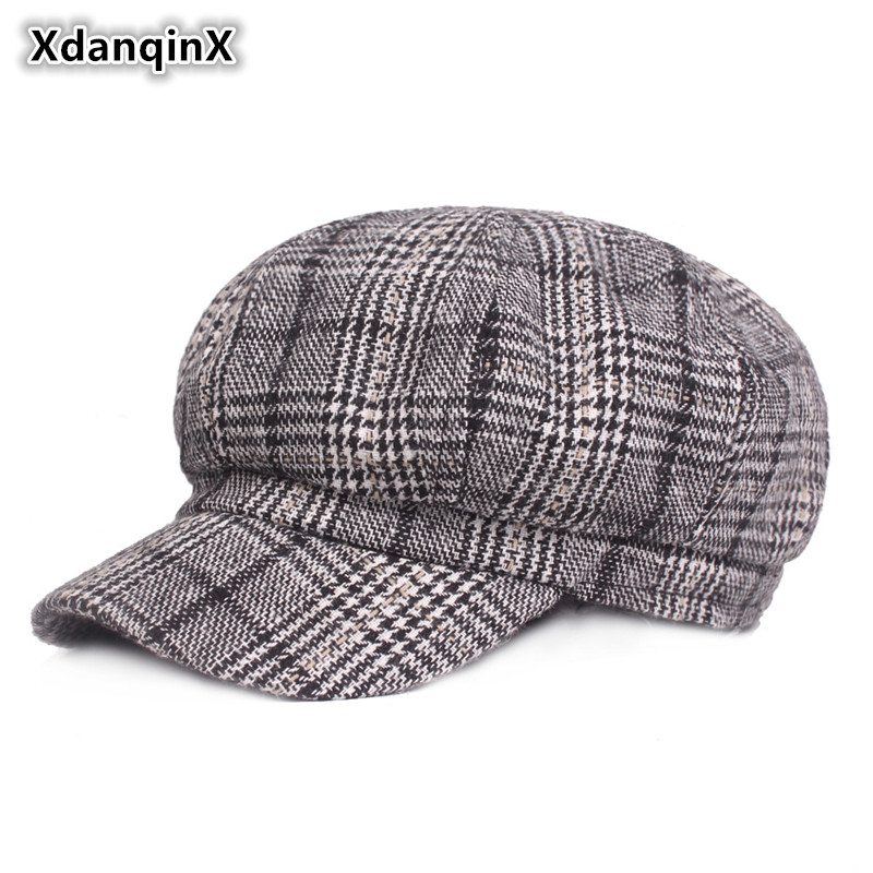 XdanqinX Autumn Winter Warm Women's Newsboy Caps Thicker Elegant Fashion Vintage Ladies Beret Literary Youth Female Winter Hat
