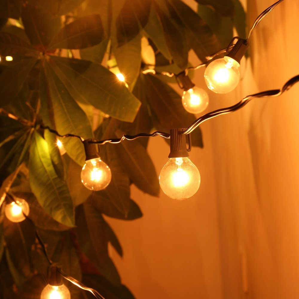 Indoor outdoor string lights home is best place to return g40 string lights with 25 g40 clear globe bulbs listed for indooroutdoor vintage backyard mozeypictures Choice Image