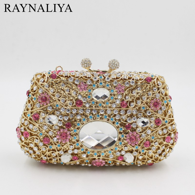 Women Fashion Evening Crystal Bag Ladies Day Casual Clutch Purse Weeding Floral Hasp Handbag Diamonds Minaudiere Smyzh-e0082 luxury crystal clutch handbag women evening bag wedding party purses banquet