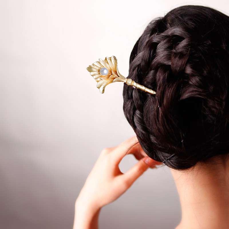 Retro Ginkgo Leaves Hair Sticks Jewelry Simulado Pearl Leaves - Bisutería - foto 6