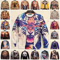 2016 Outono Nova Mulheres Homens Animais leopardo tigre impressão 3D Pullover Camisola Do Hoodie sudaderas Galáxia engraçado harajuku Tops roupas