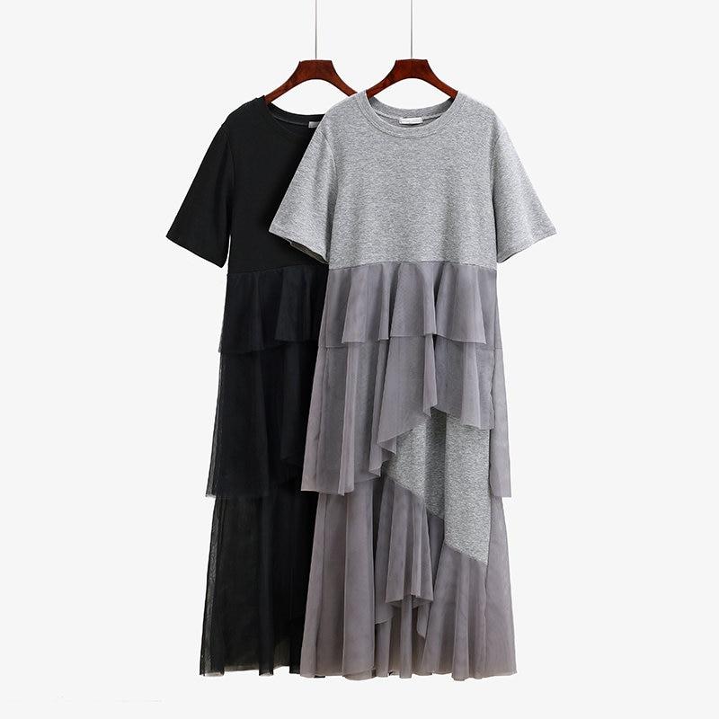 New Women Dress Short Sleeve Tulle Stitching Casual Summer Dress Vestidos Long Maxi Dress Robe Femme Loose Tshirt Dresses C5301